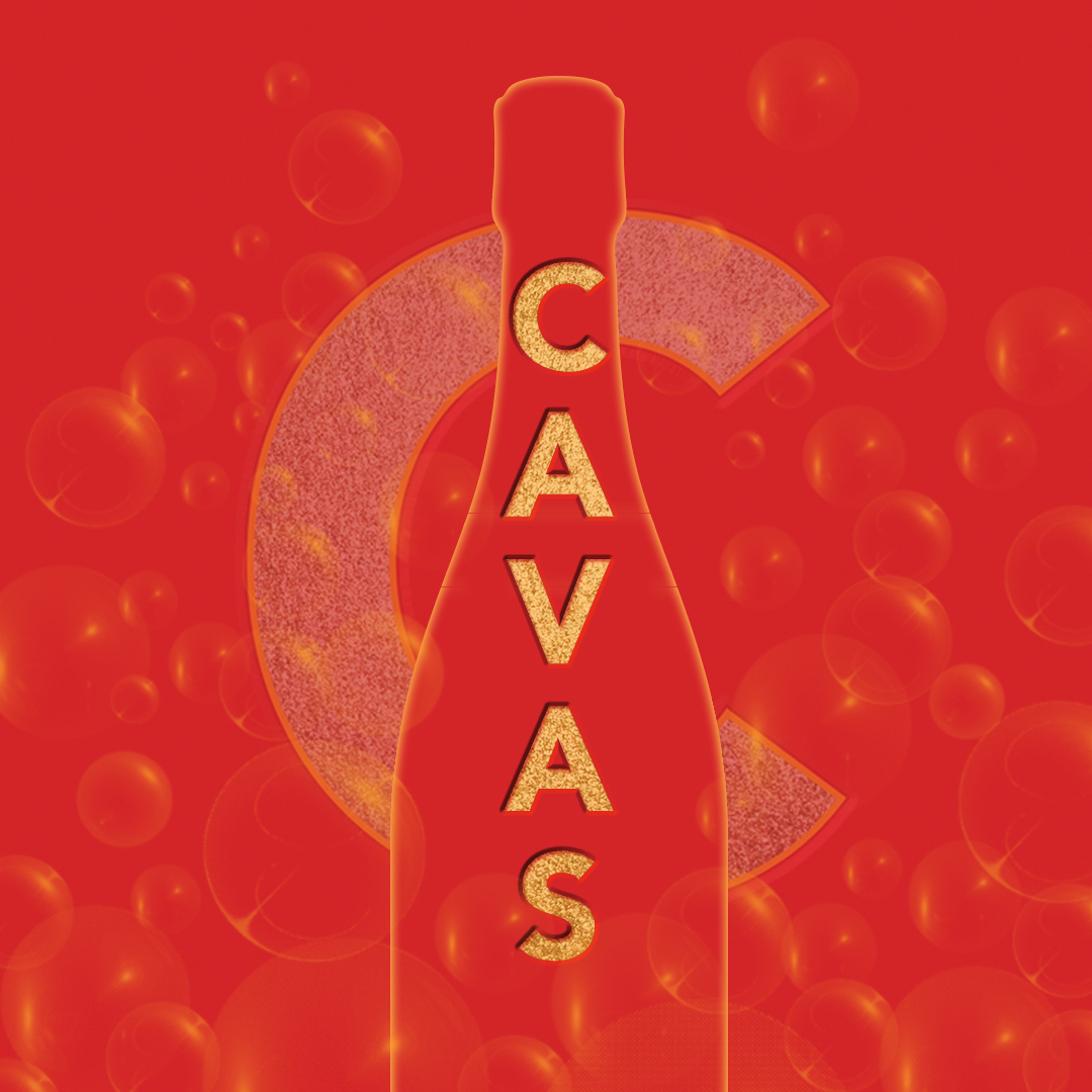 Outline of a Champagne bottle with bubbles and the CAVAS logo